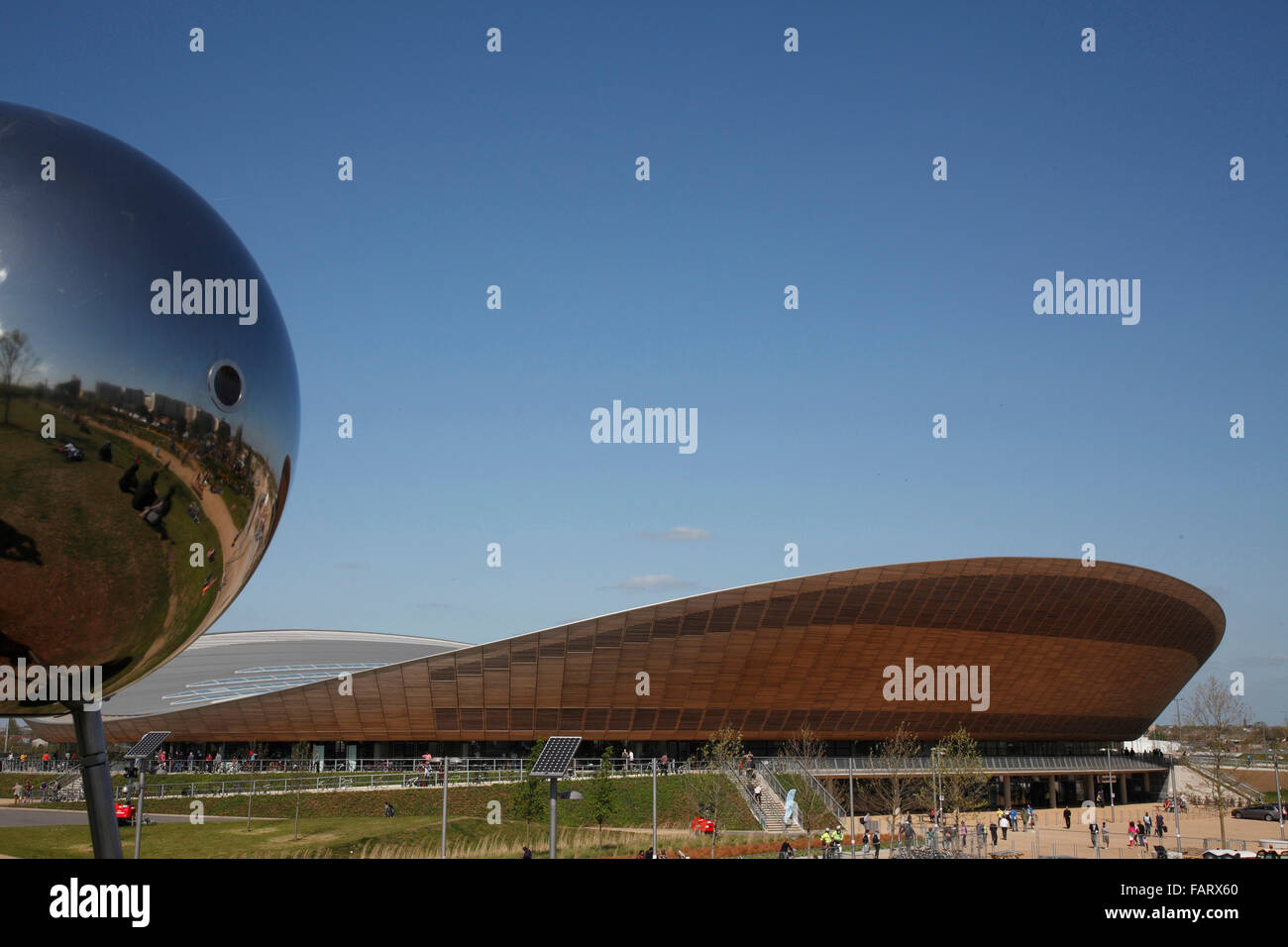 The velodrome and reflective spherical sculpture. - Stock Image
