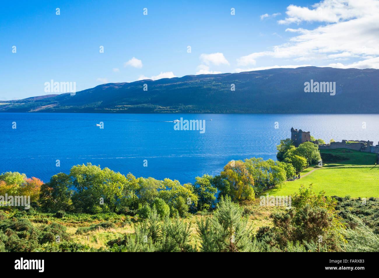 Urquhart Castle next to Loch Ness on Strone Point near Drumnadrochit village Highlands of Scotland UK GB EU Europe - Stock Image