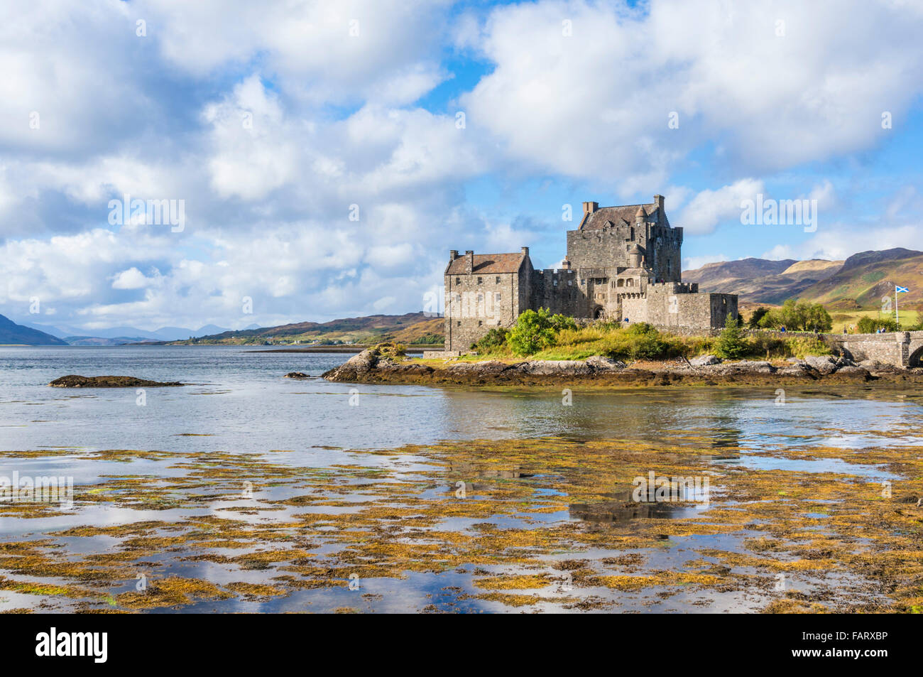 Eilean Donan Castle on the shore of Loch Duich Ross and Cromarty Western Highlands of Scotland UK GB EU Europe - Stock Image