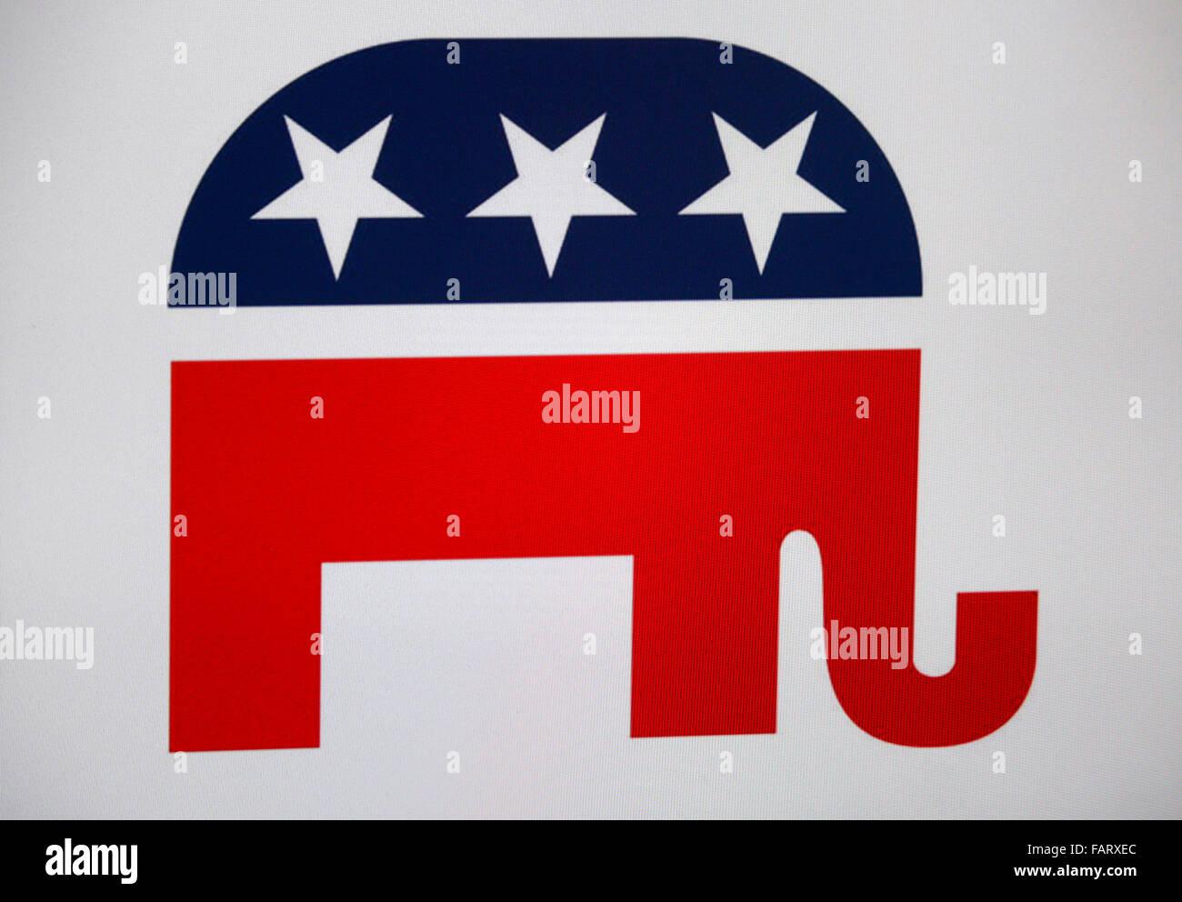 das Logo der US amerikanischen Partei 'Republikaner', Berlin. - Stock Image