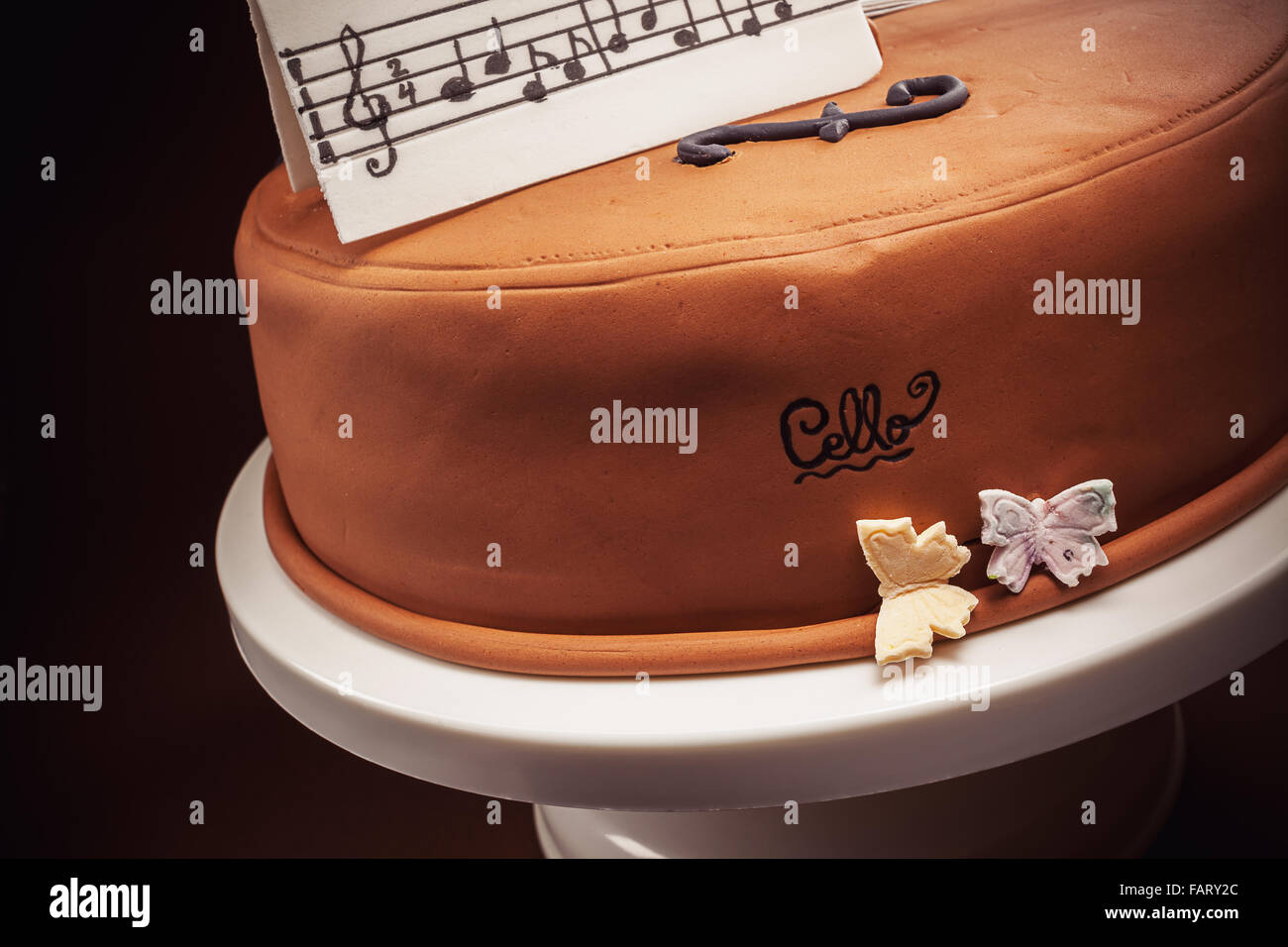 Birthday Cake Decorated With Fondant Rounded Symbolically Stock