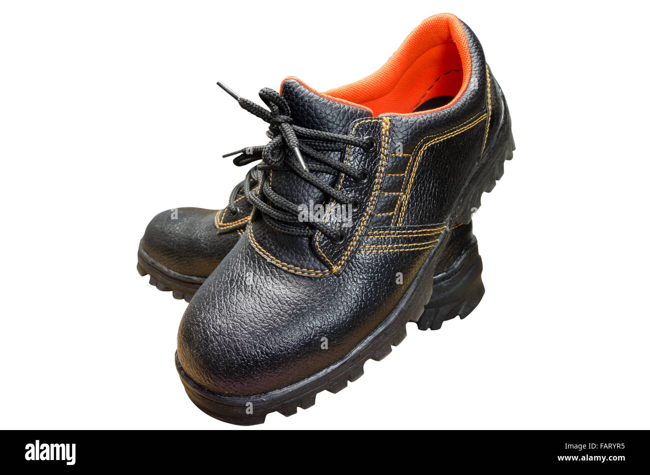 Black Steel Toe Safety of steel cap work boots on white blackground. Stock Photo