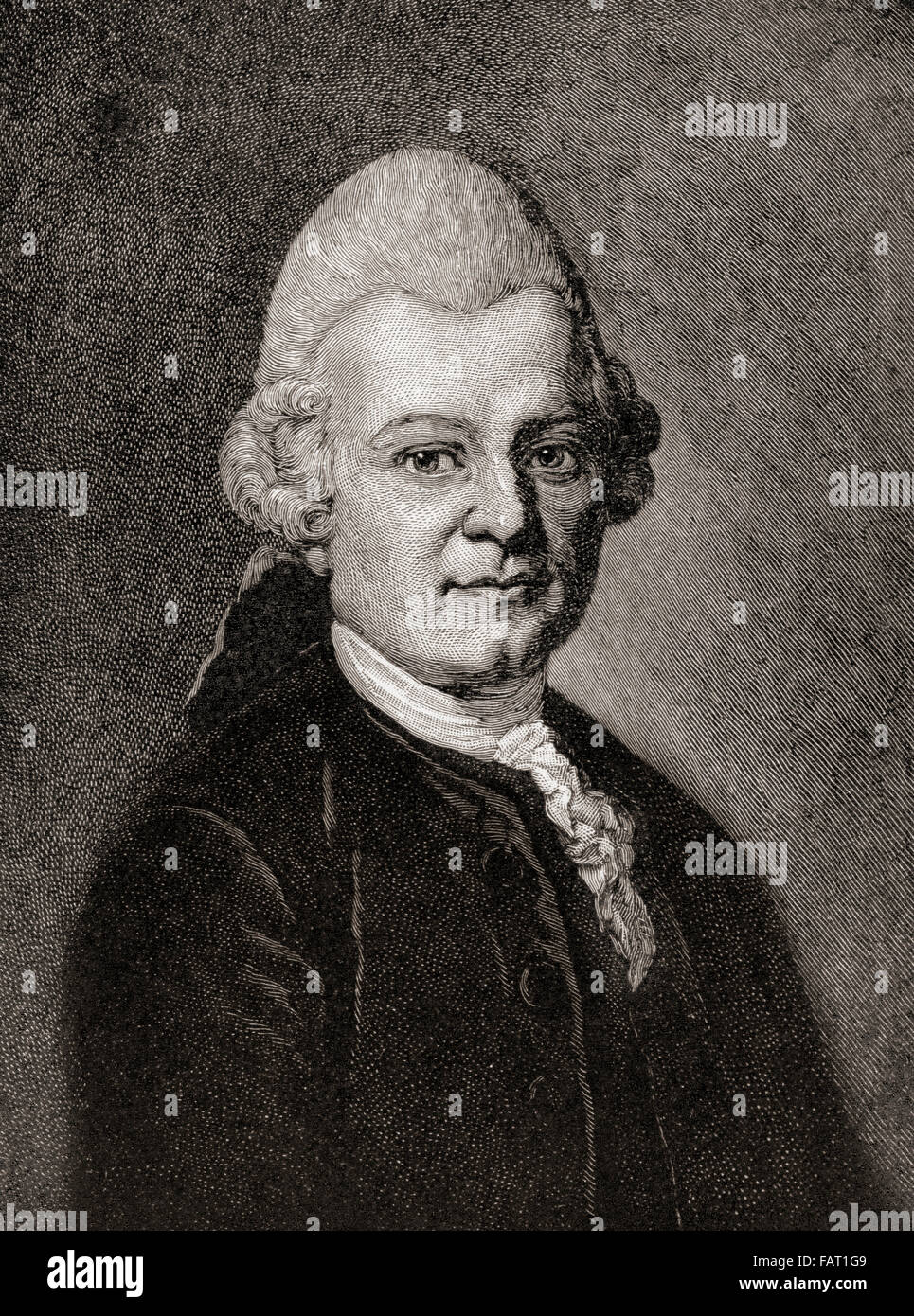 Gotthold Ephraim Lessing, 1729 –1781.  German writer, philosopher, dramatist, publicist and art critic. Stock Photo