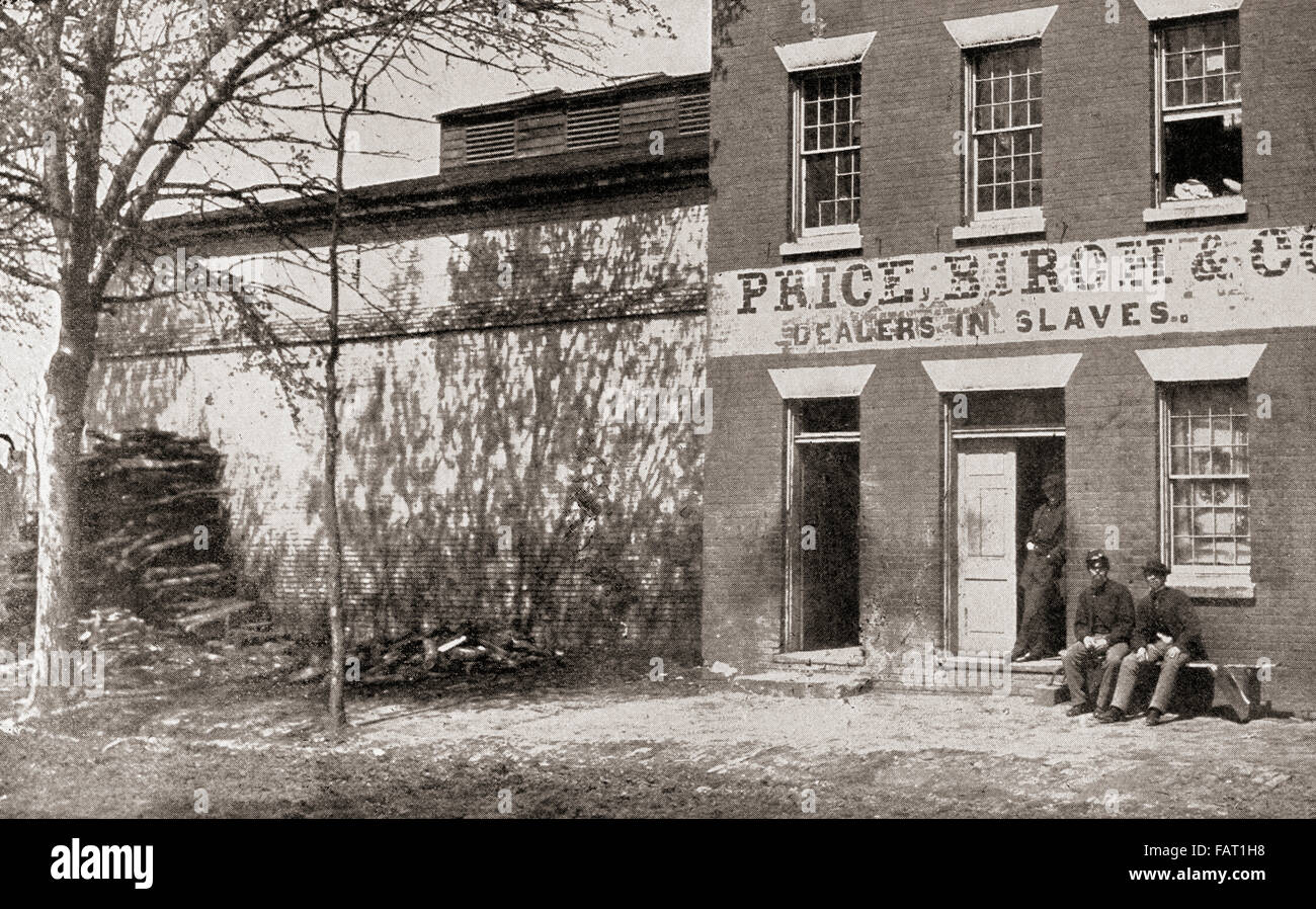 Union Army guard at Price, Birch & Co. Dealers in Slaves at Alexandria, Virginia, United States of America, - Stock Image