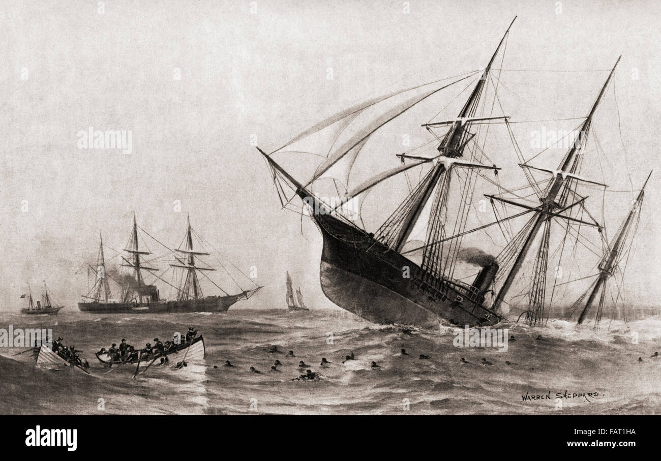 The Sinking of CSS Alabama during The Battle of Cherbourg, or the Battle off Cherbourg.  Single-ship action fought - Stock Image