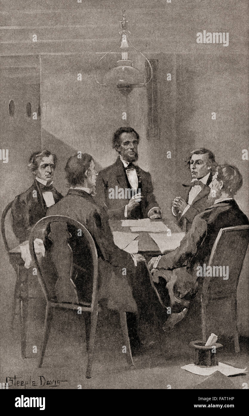 The Hampton Roads Conference, held between the United States and the Confederate States on February 3, 1865, aboard - Stock Image