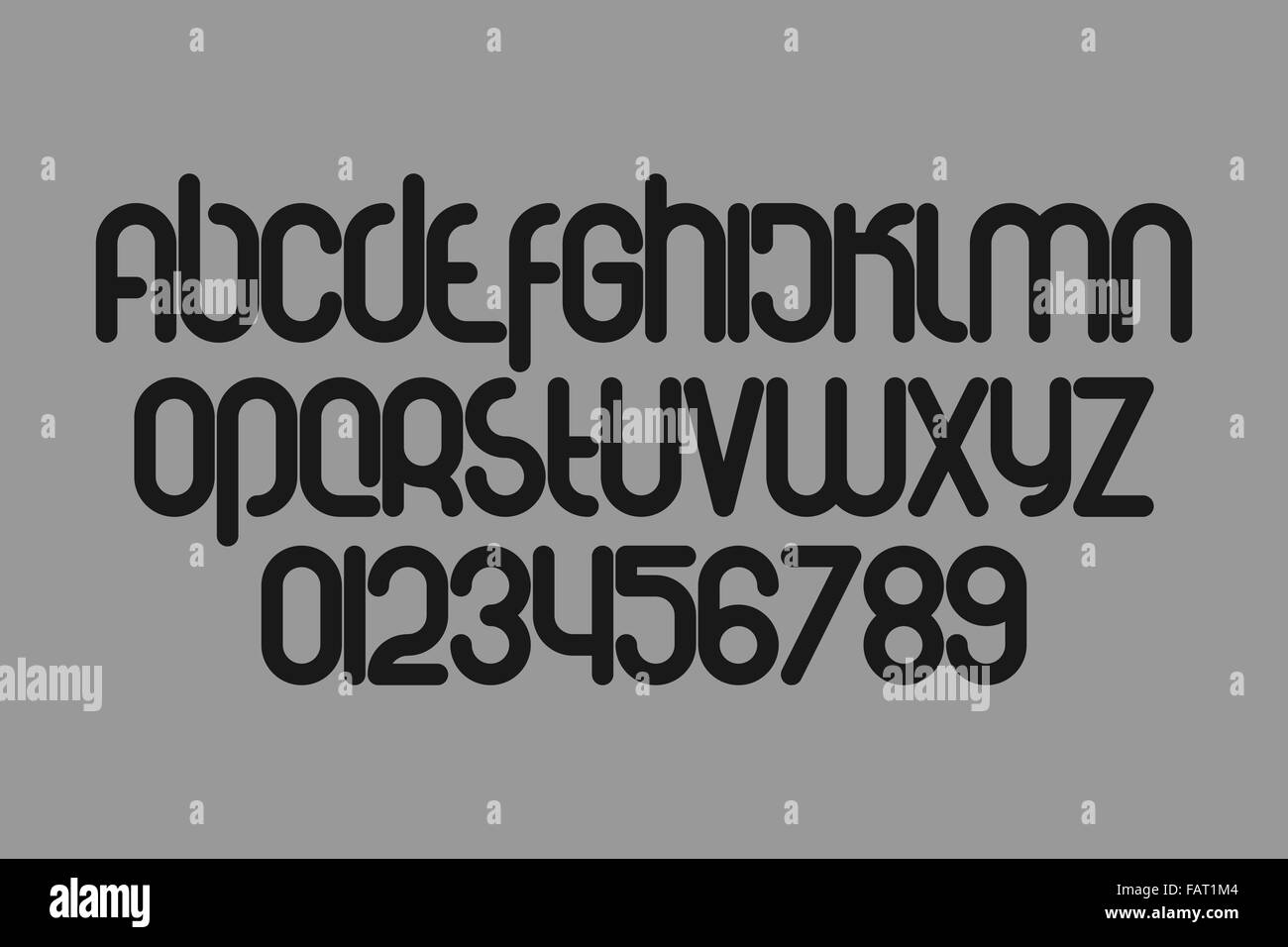 set of stylized, alphabet letters and numbers isolated on grey background. vector contemporary, bold font type - Stock Image