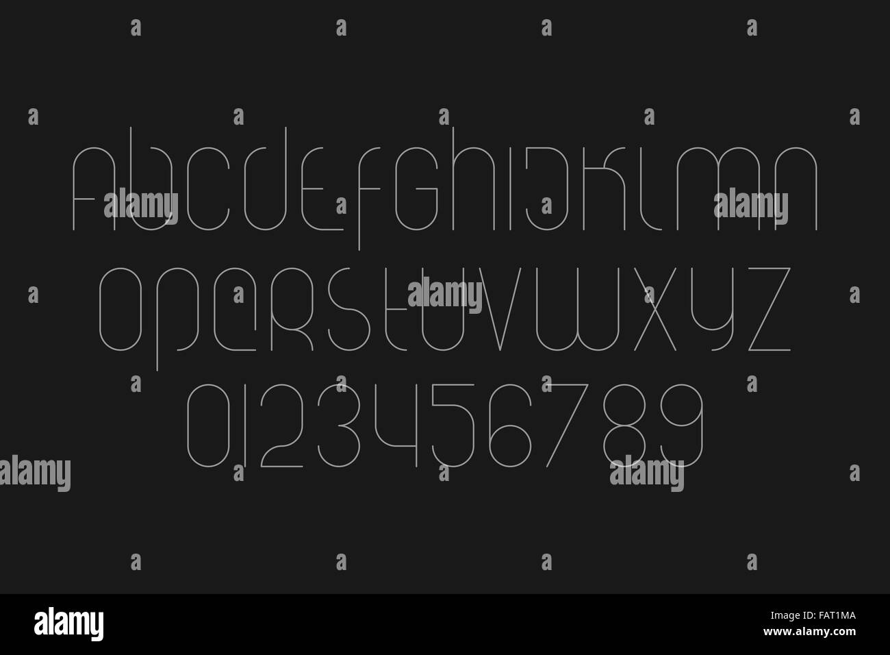 set of stylized alphabet letters and numbers isolated on black background. vector font type symbols - Stock Image