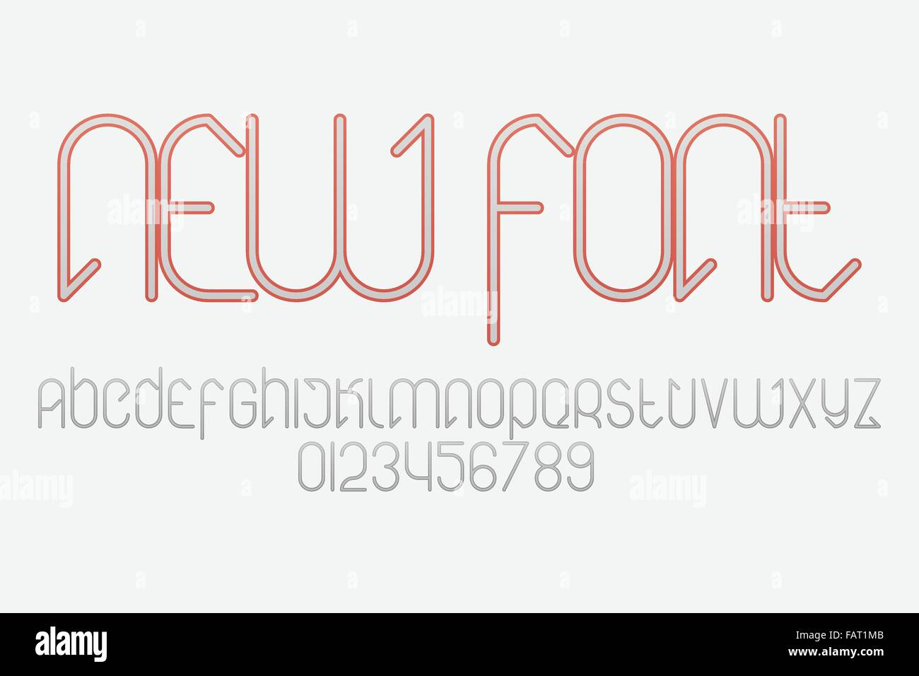 set of stylish, alphabet letters and numbers isolated on white Stock