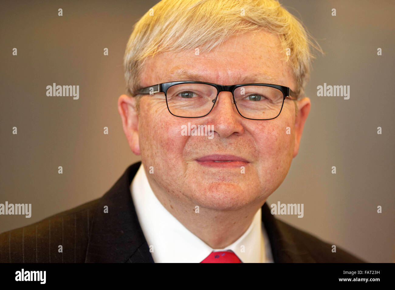 Former Australian Prime Minister Kevin Rudd delivers the keynote speech for the annual spring lecture to - Stock Image