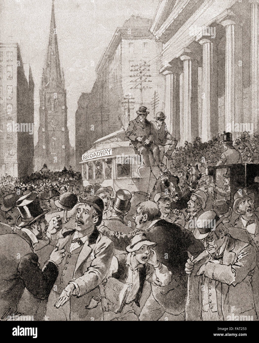 Black Friday in Wall Street, New York, United States of America 1869, when  the price of gold collapsed due to the speculators Jay Gould and James Fisk  who ...