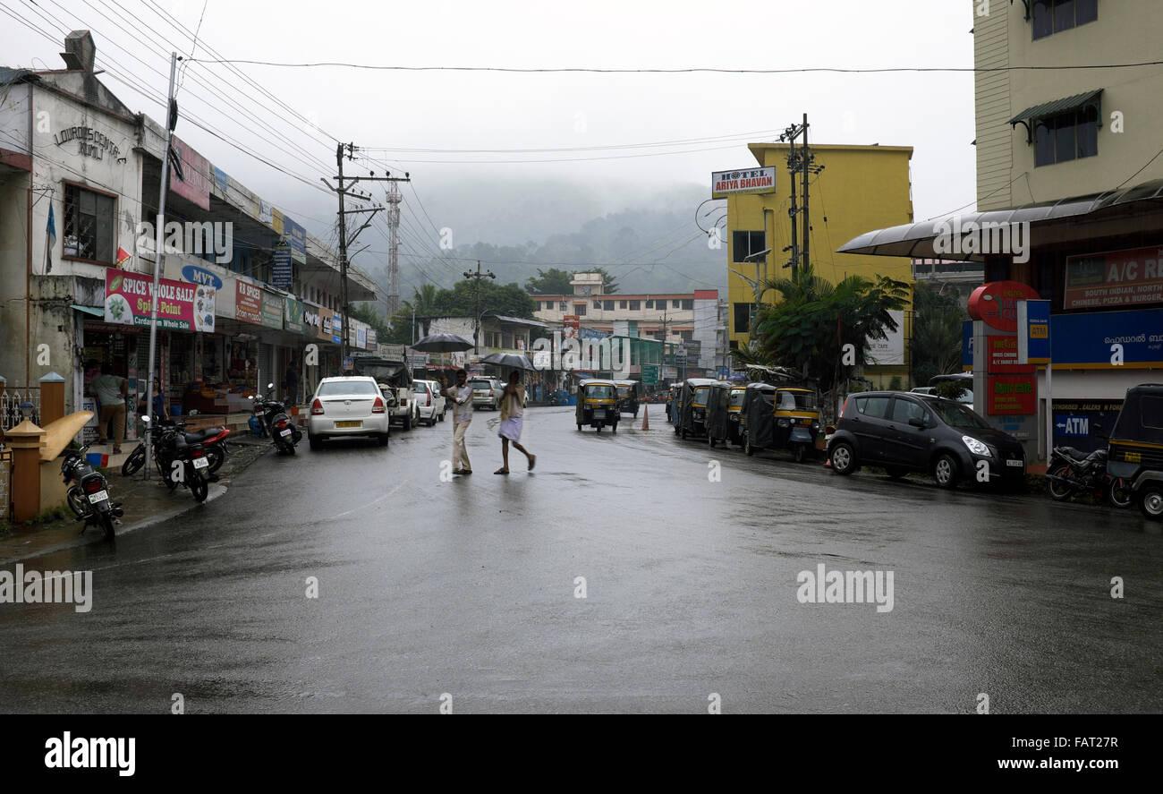 Heavy rain falling in Kumilly, Kerala, India - Stock Image