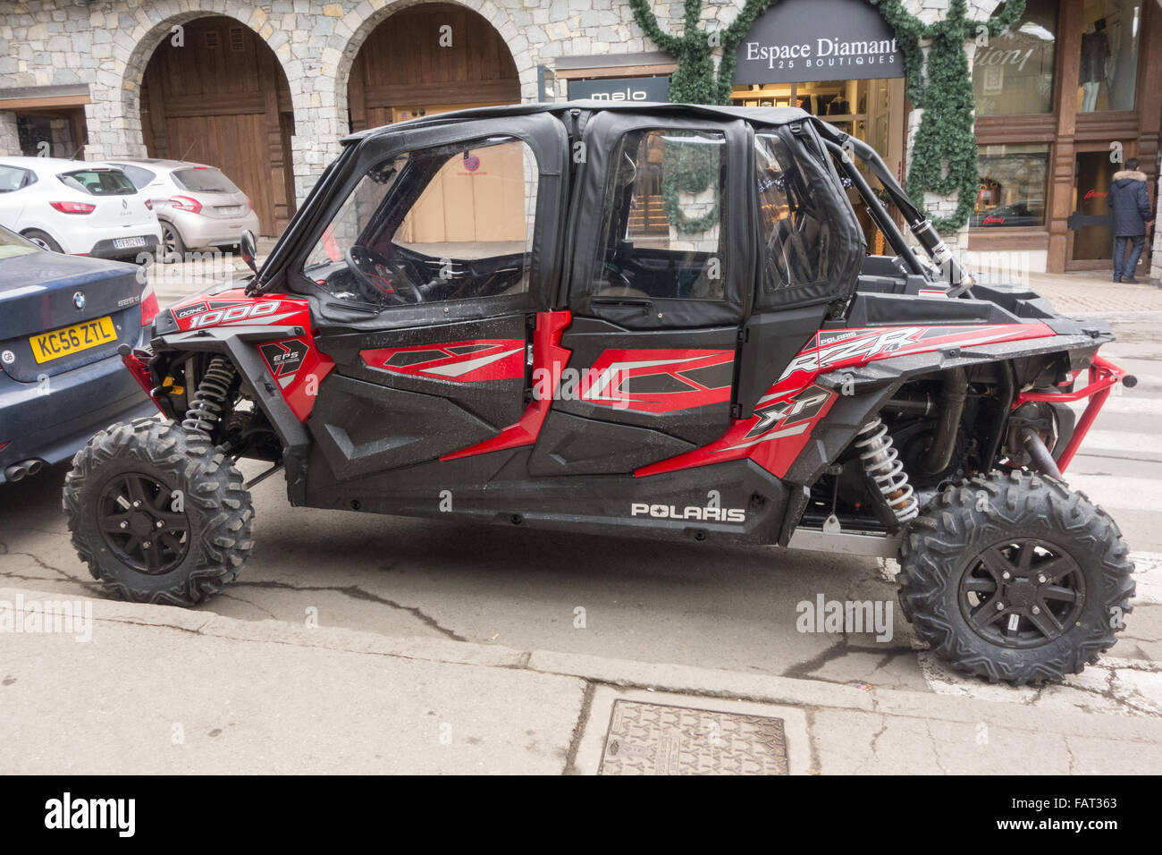 polaris 4 seater high performance off road vehicle, Courchaval 1850, France - Stock Image