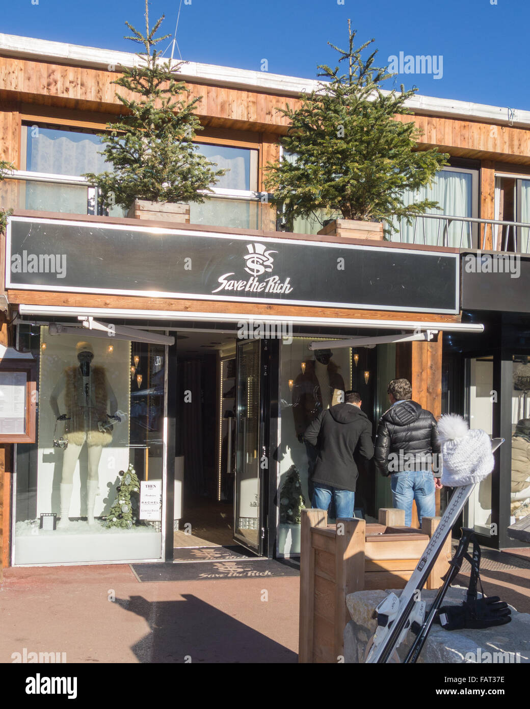 'Save the Rich' clothing shop in Courchevel 1850 luxury ski resort, France - Stock Image