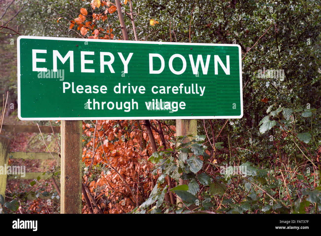 Emery Down village name sign, Emery Down, New Forest, Hampshire, England, UK. Stock Photo