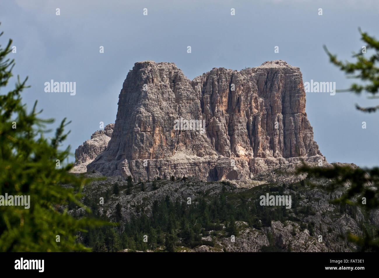 Mount Averau as seen from the Falzarego Pass, near Cortina d'Ampezzo, Italy - Stock Image