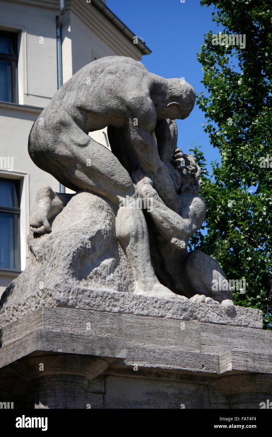 Denkmal fuer Rudolf Virchow, Berlin-Mitte. - Stock Image
