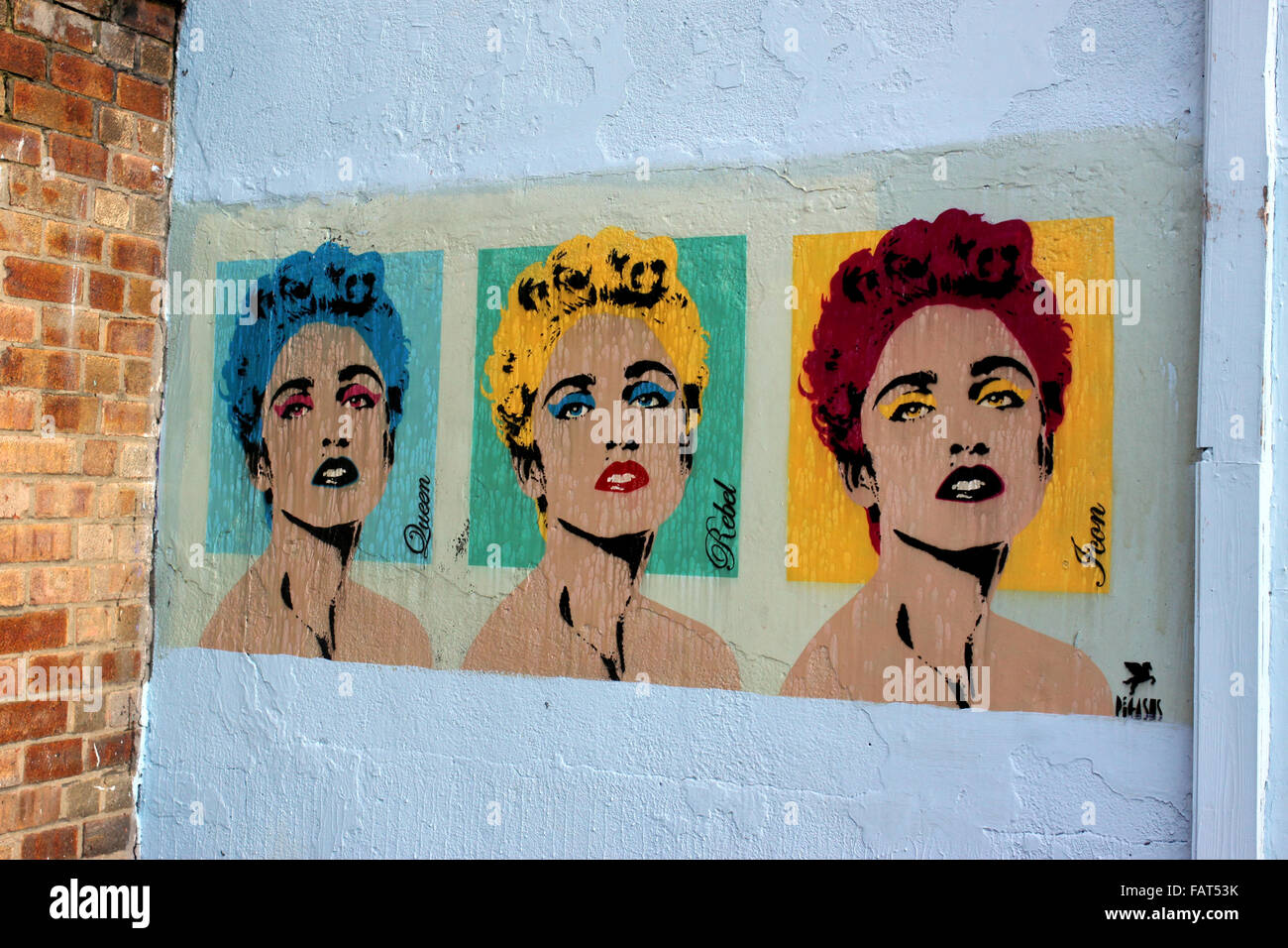 Street art by Pegasus featuring Madonna on a wall in Islington, London - Stock Image