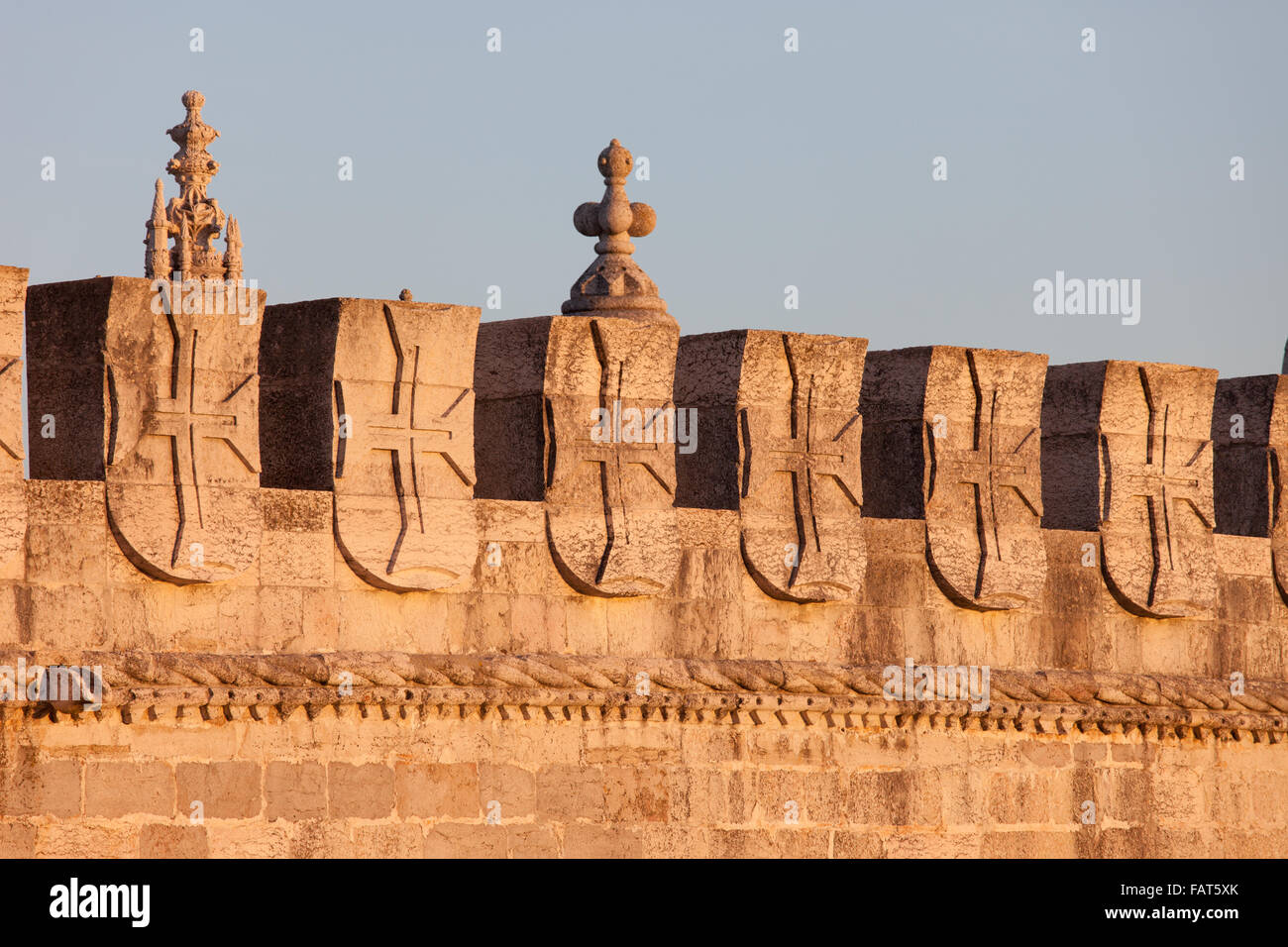 Portugal, Lisbon, Belem Tower battlement with crosses of the Order of Christ - former Order of Knights Templar - Stock Image