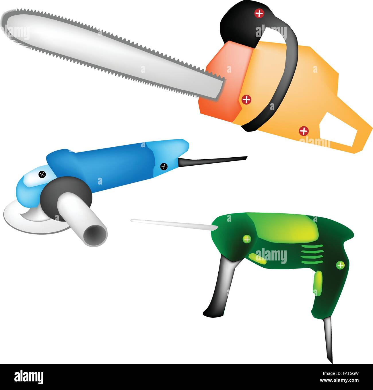 Capenter Tools, Illustration Collection of A Cordless Drill/ Screwdriver, Electric Angle Grinder and Chainsaw for - Stock Vector