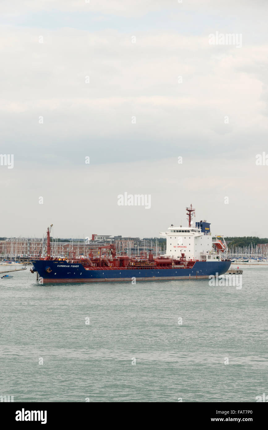 The Cumbrian Fisher oil tanker ship moored in Portsmouth Harbour UK - Stock Image