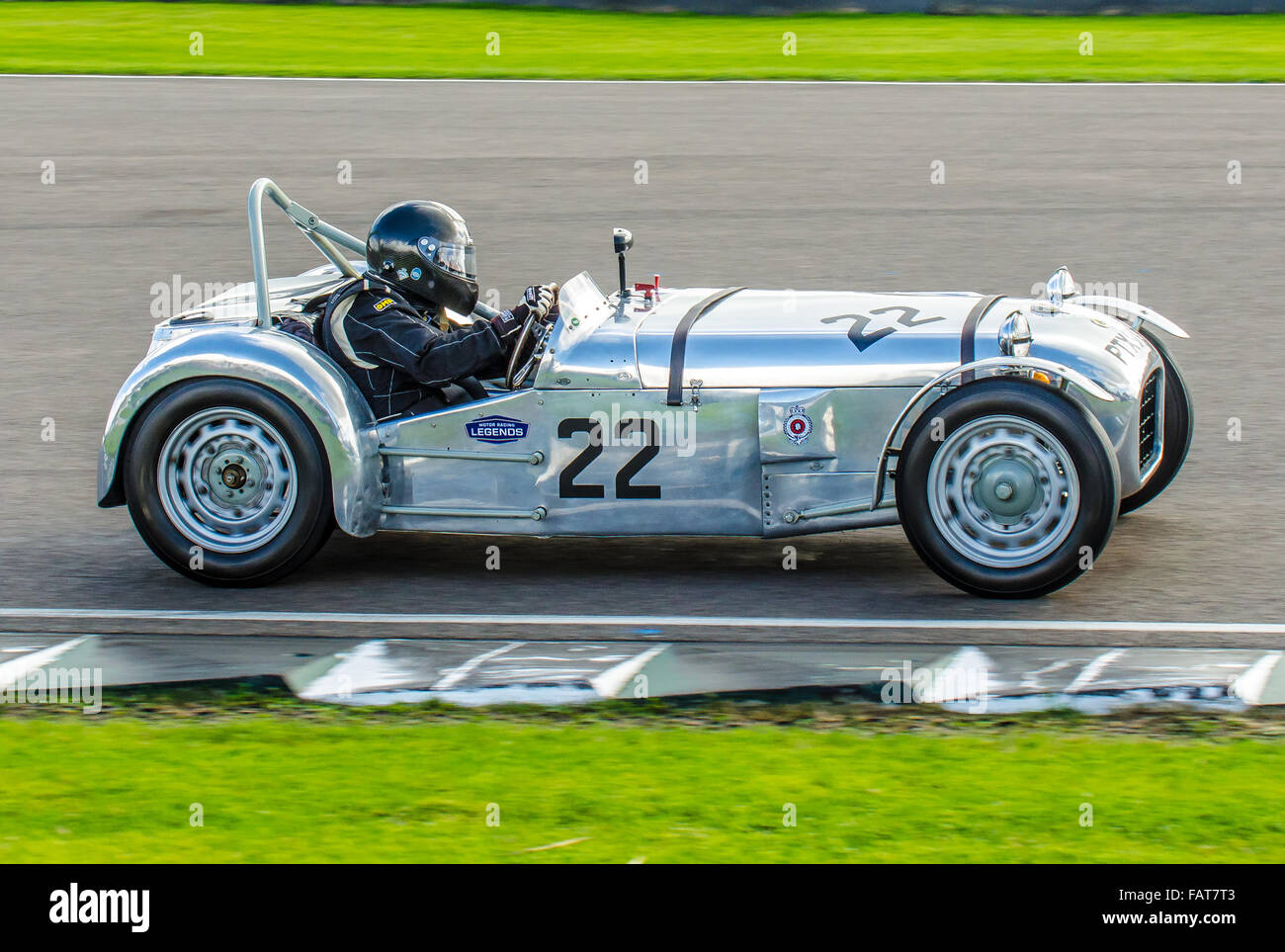 1955 model Lotus Mark VI racing car owned by singer Chris Rea and driven by him at the Goodwood Revival 2015. Chris - Stock Image