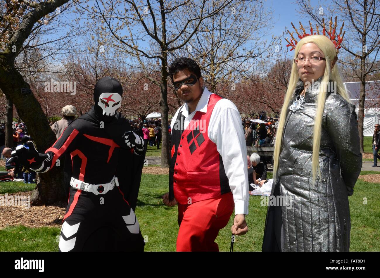 cosplay characters blossom festival brooklyn botanical gardens 2105 sunny day colourful cartoon characters comics - Stock Image
