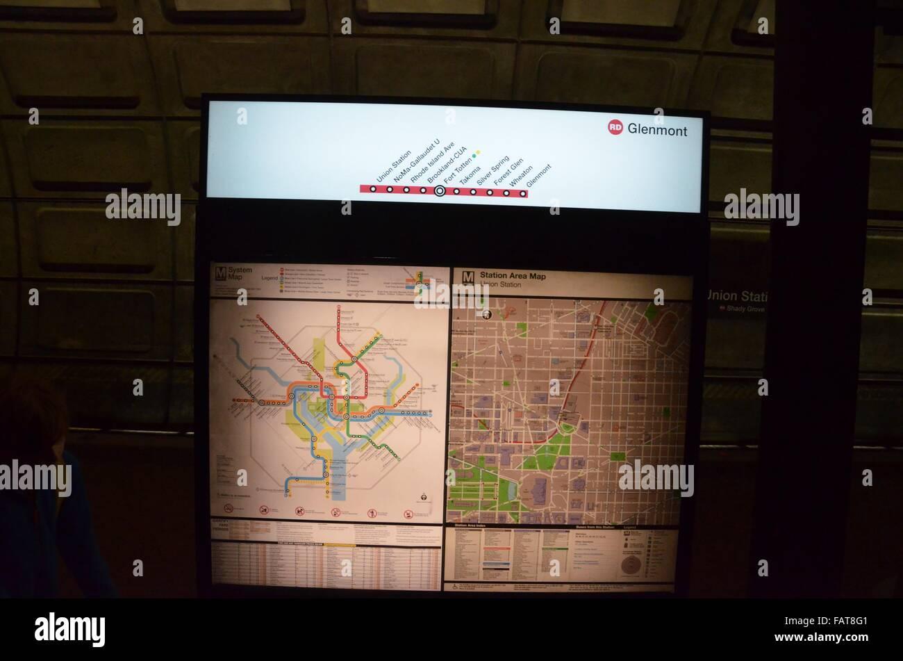 washington dc metro map displays illuminated - Stock Image