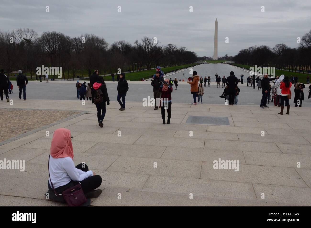 washington memorial reflecting pool - Stock Image