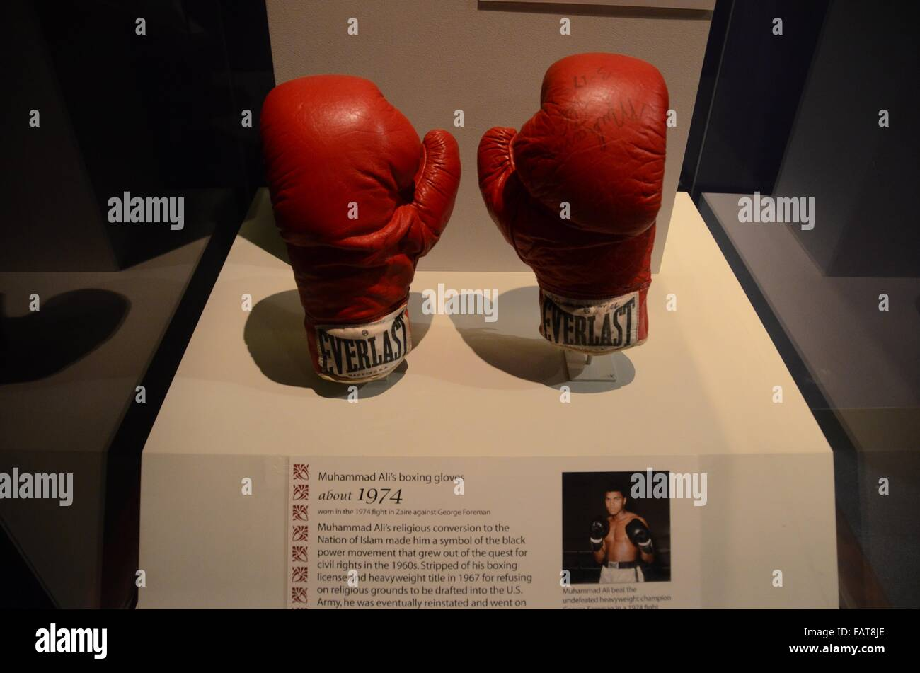 National Museum of American History muhammed ali gloves rumble in the jungle 1974 Stock Photo