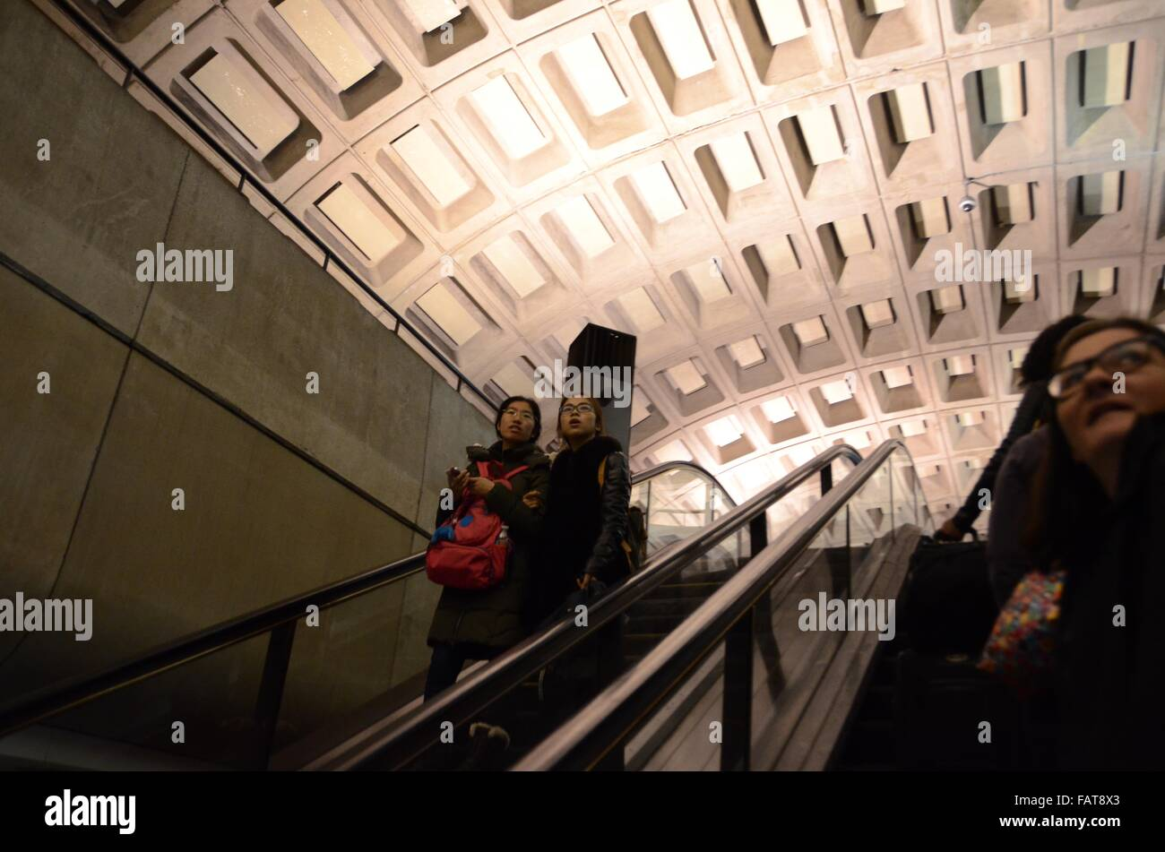 tourists washington metro trains ceilings usa Stock Photo