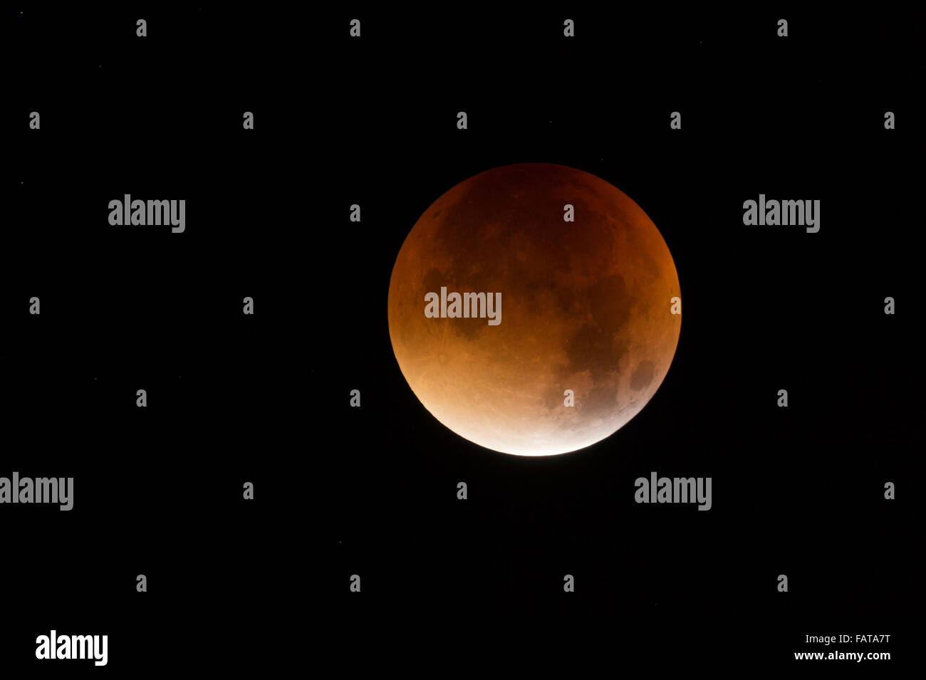 Lunar Eclipse, Red supermoon, Blood moon / Blutmond, 28th September 2015. Stock Photo