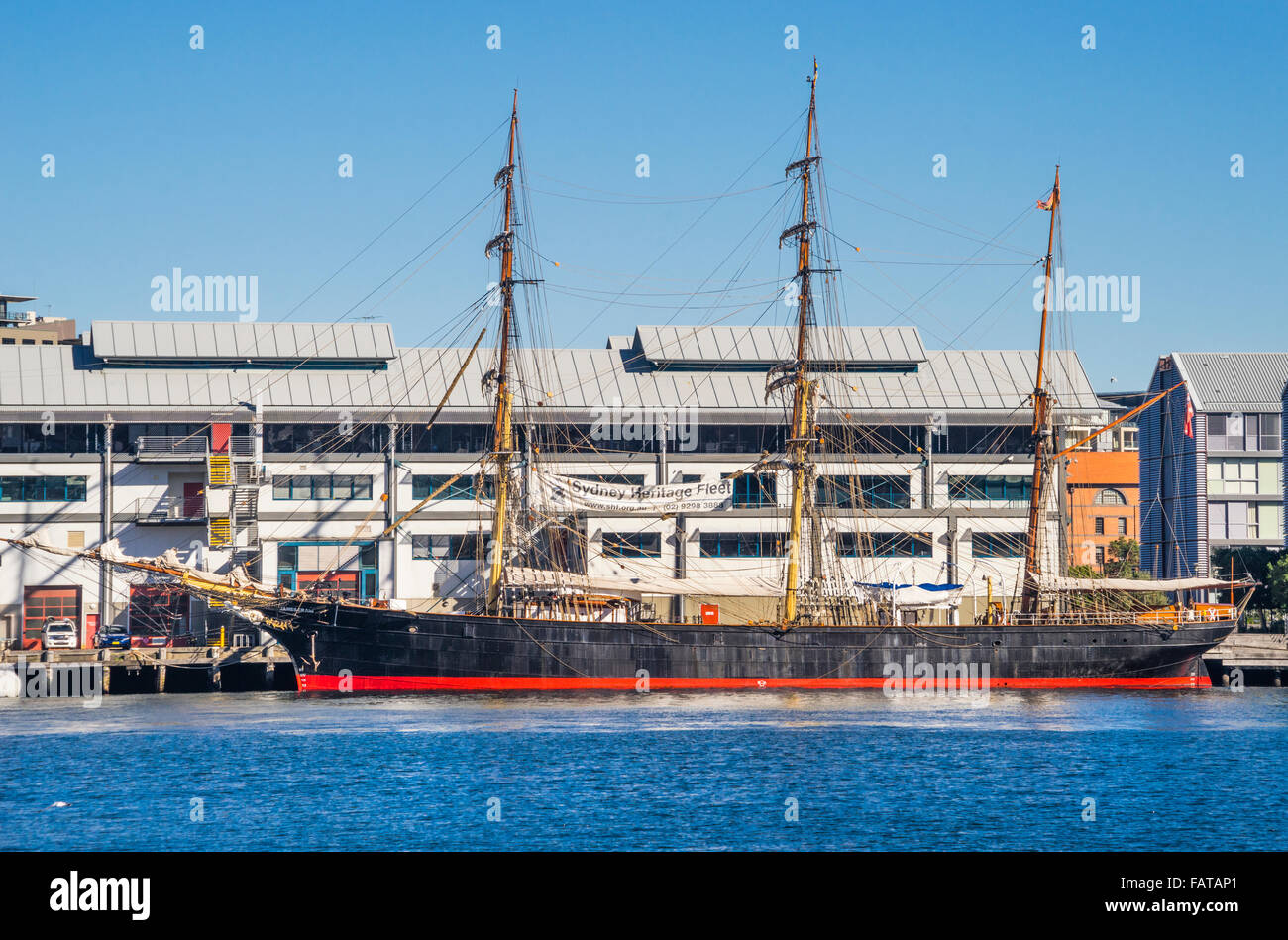 Australia, New South Wales, Sydney, Darling Harbour, three-masted iron-hull barque James Craig of the Sydney Heritage - Stock Image