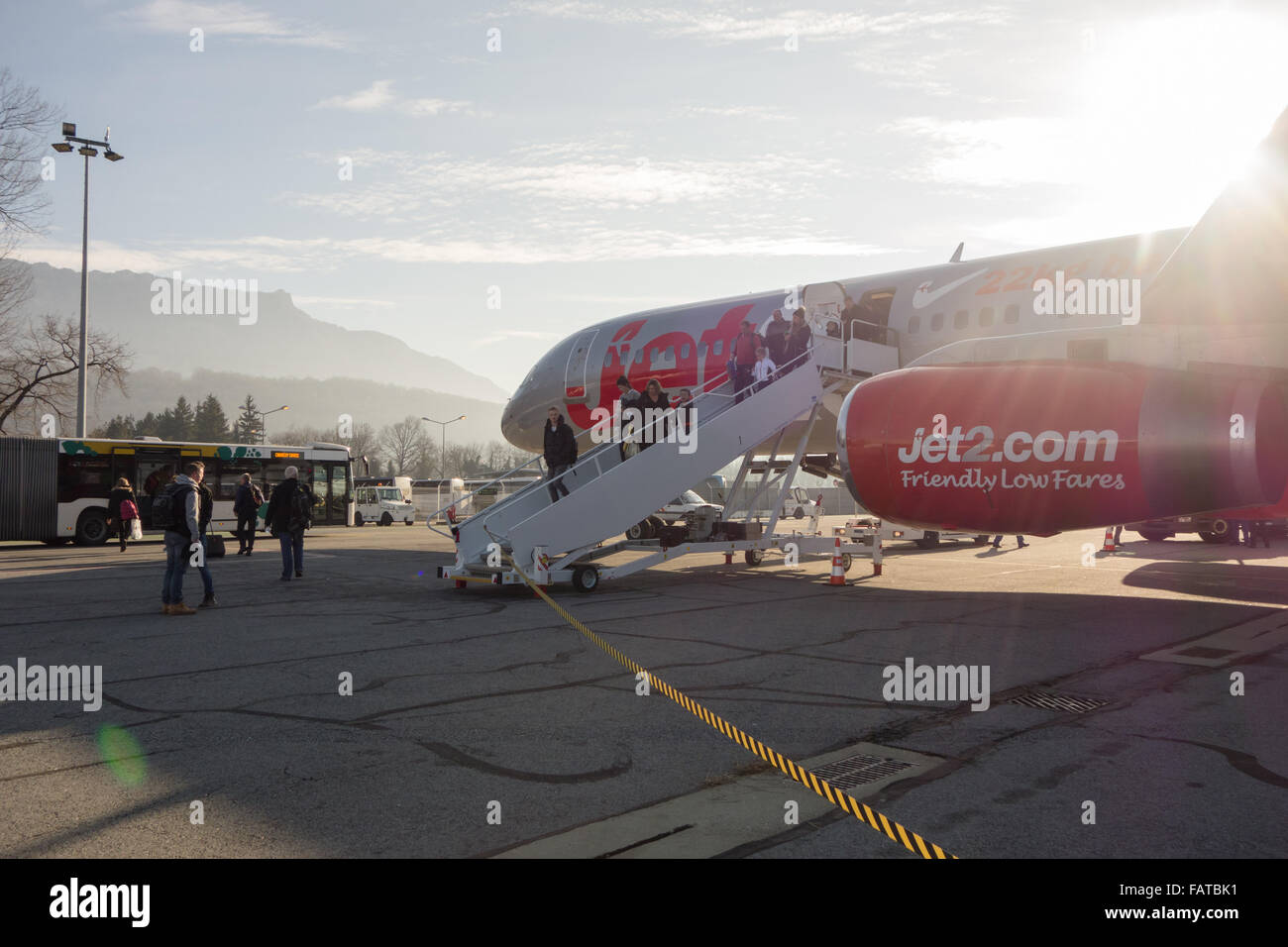 passengers disembarking from Jet2 plane at Chambery airport, France - Stock Image