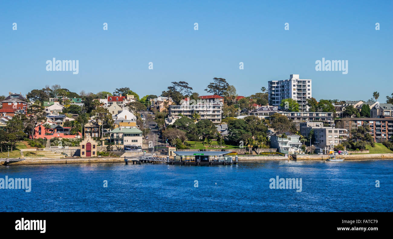 Australia, New South Wales, Sydney, harbour view of the of the Inner West suburb of Balmain East with Balmain East - Stock Image