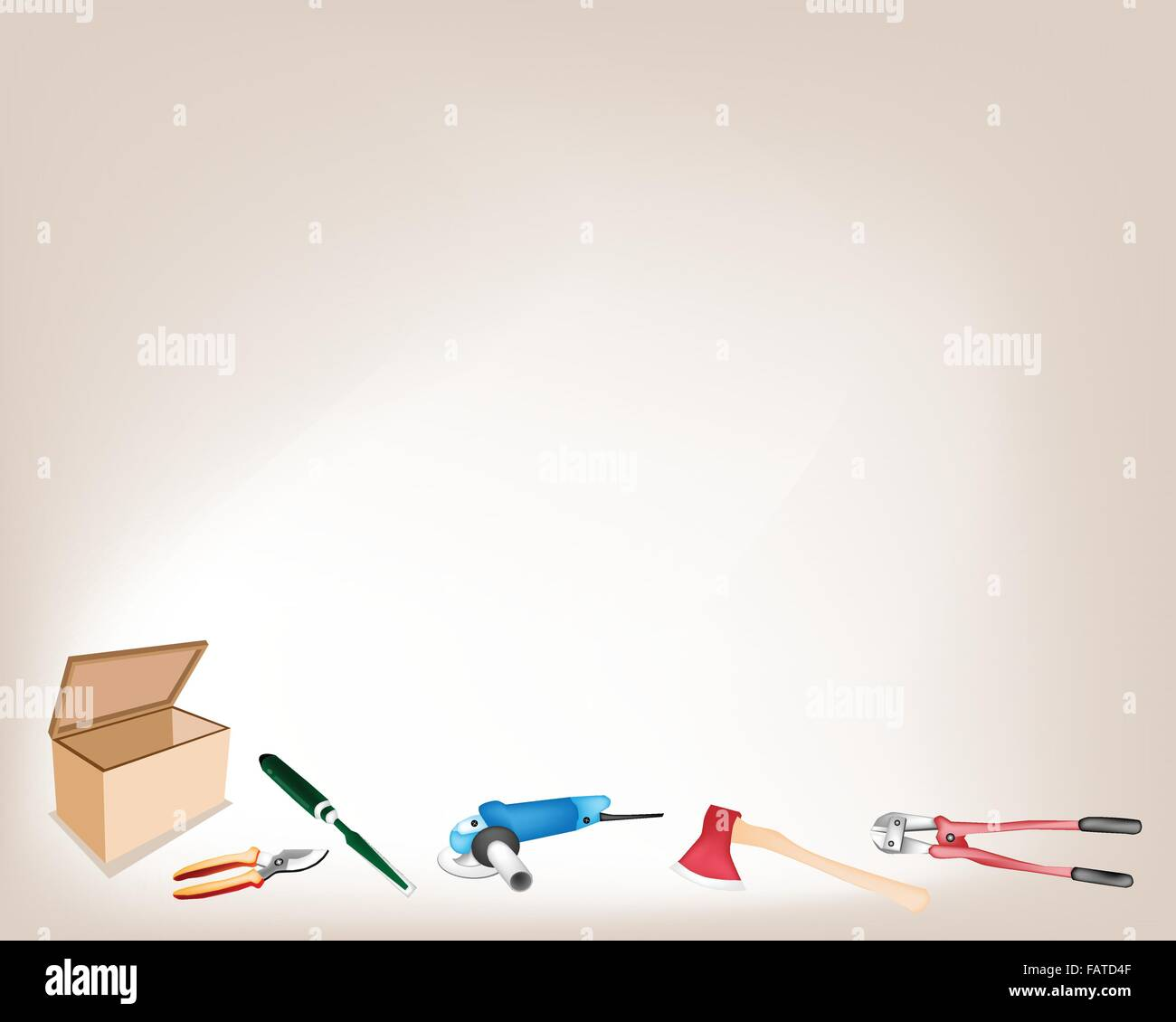 Illustration Collection of Carpenter Craft Tools, Axe, Rasp, Electric Angle Grinder, Loppers and Pruners Isolated - Stock Vector