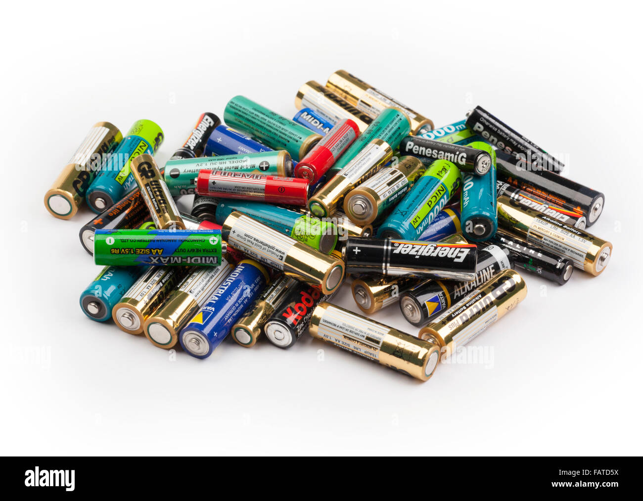 assorted AA size batteries / cells - Stock Image