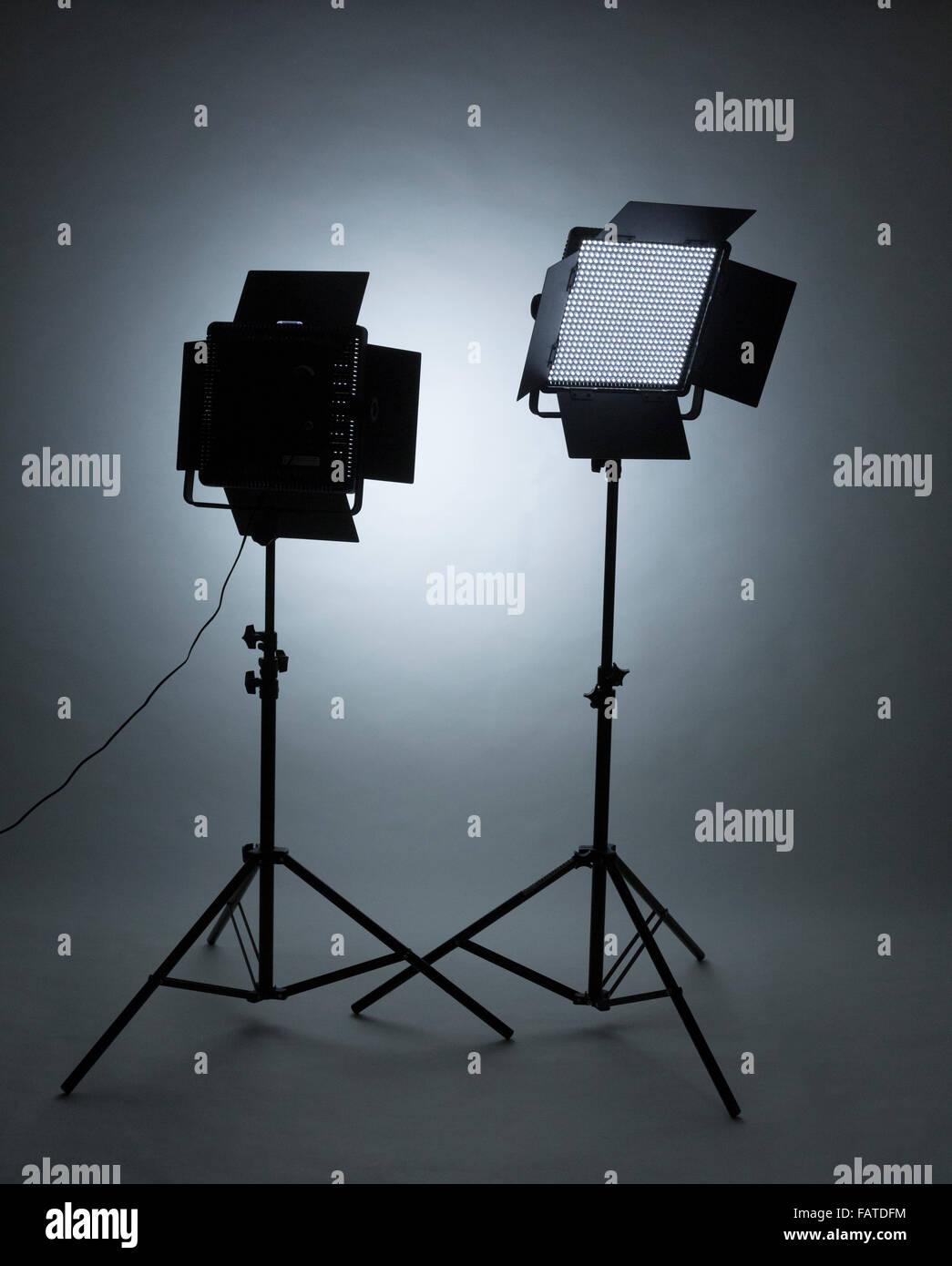 LED studio lights - Stock Image