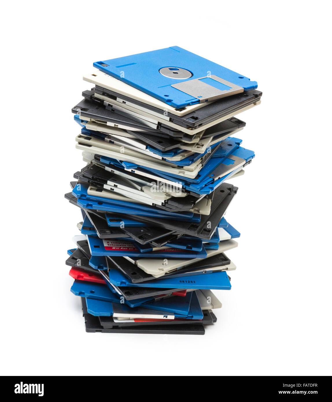 obsolete 3.5' floppy disks - Stock Image