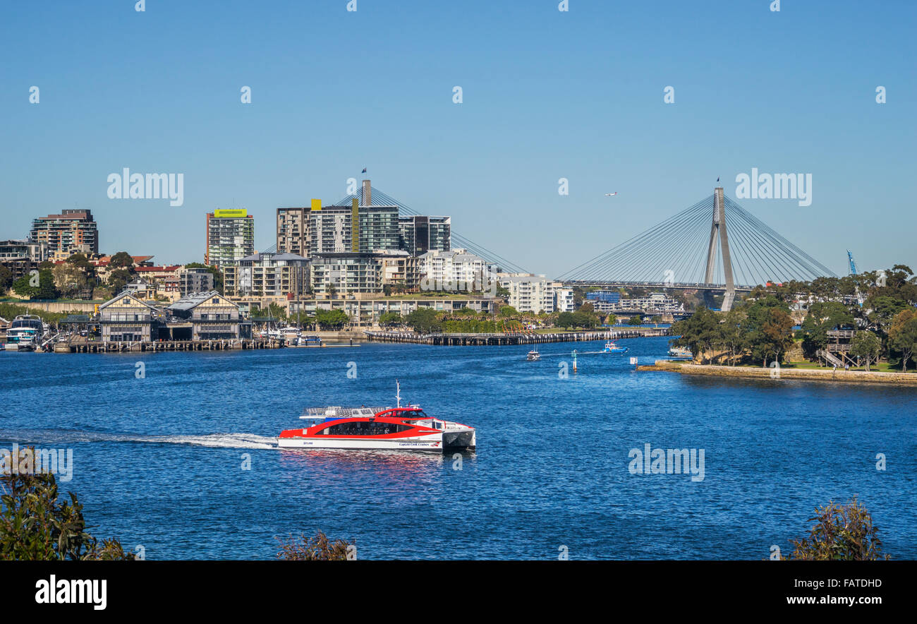 Australia, New South Wales, Sydney, Darling Harbour, view of Jones Bay Wharf and Pyrmont Point Park and Anzac Bridge - Stock Image