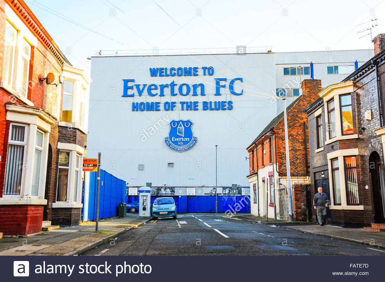 View of Everton Football Club from Neston Street, Walton, Liverpool, England UK Stock Photo