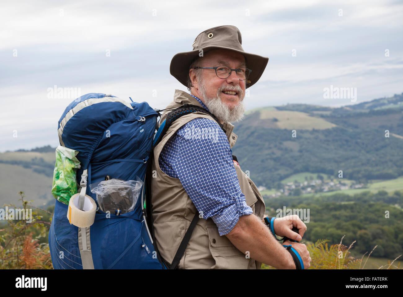 Pilgrim from Sweden near the village of Ordiarp on the Voie du Piémont route of the Camino de Santiago. Stock Photo