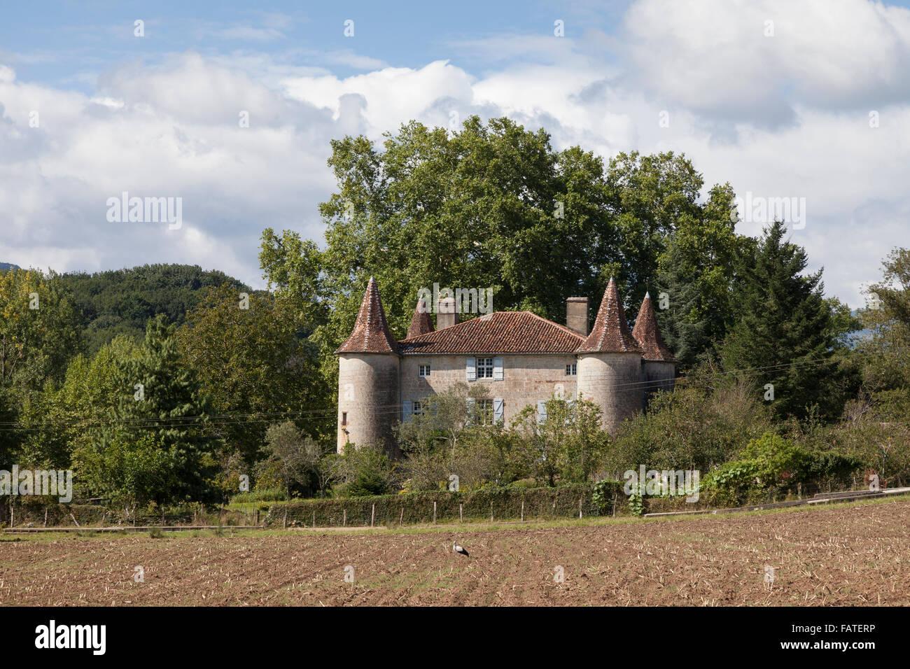 Château in the village of Saint-Jean-le-Vieux along the Voie du Piémont route of the Camino de Santiago. - Stock Image
