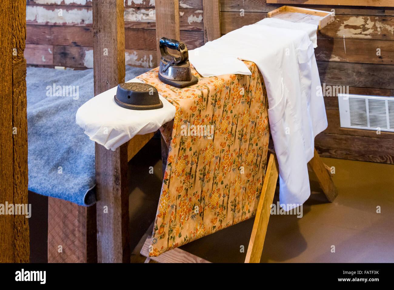 Ironing board insidet a house at Britannia Shipyards, National Historic Site, Steveston, Richmond, British Columbia, - Stock Image