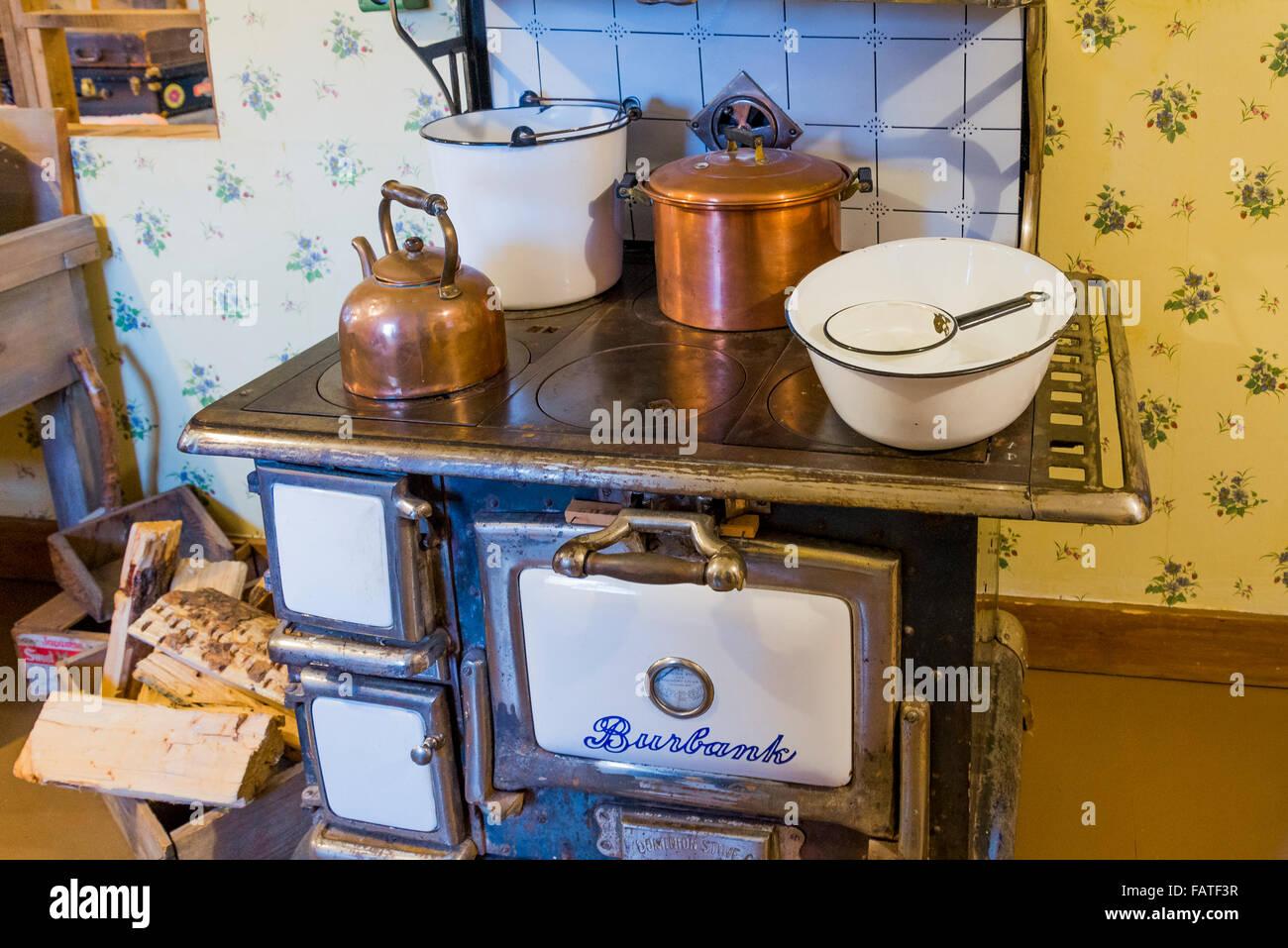 Wood burning kitchen stove inside a house at Britannia Shipyards, National Historic Site, Steveston, Richmond, British - Stock Image
