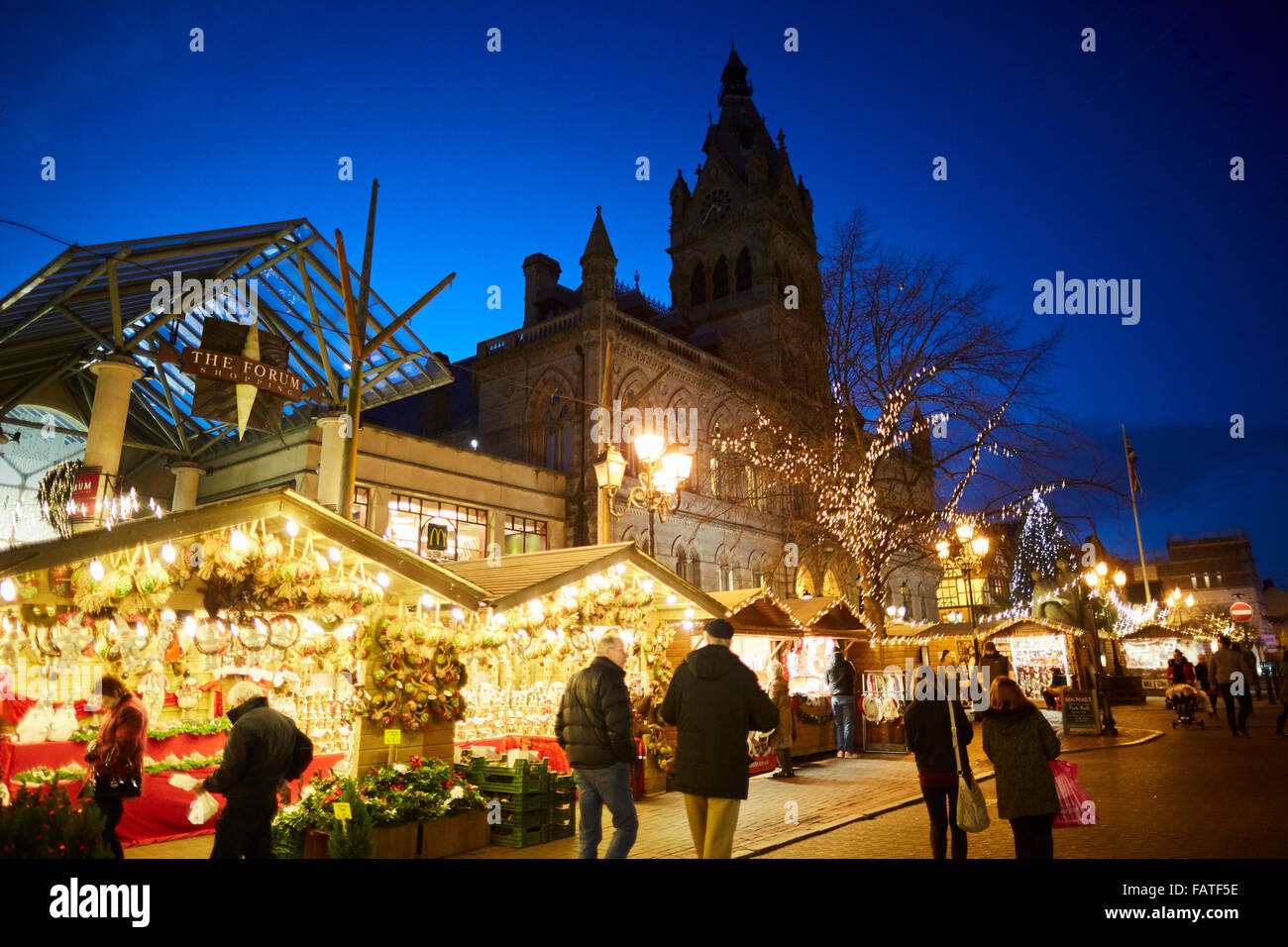 Chester city centre German style Christmas Markets 2015  Market bazaar vendor trader traders independent shops shoppers - Stock Image