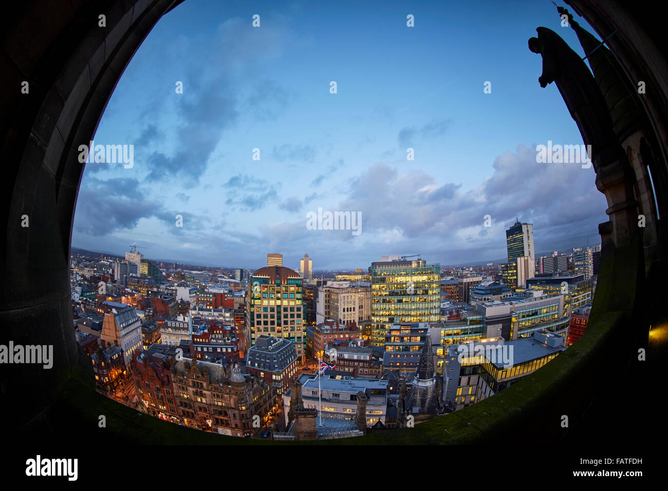 View from Manchester Town Hall clock tower looking at building looking towards king Street   Flag view looking down - Stock Image