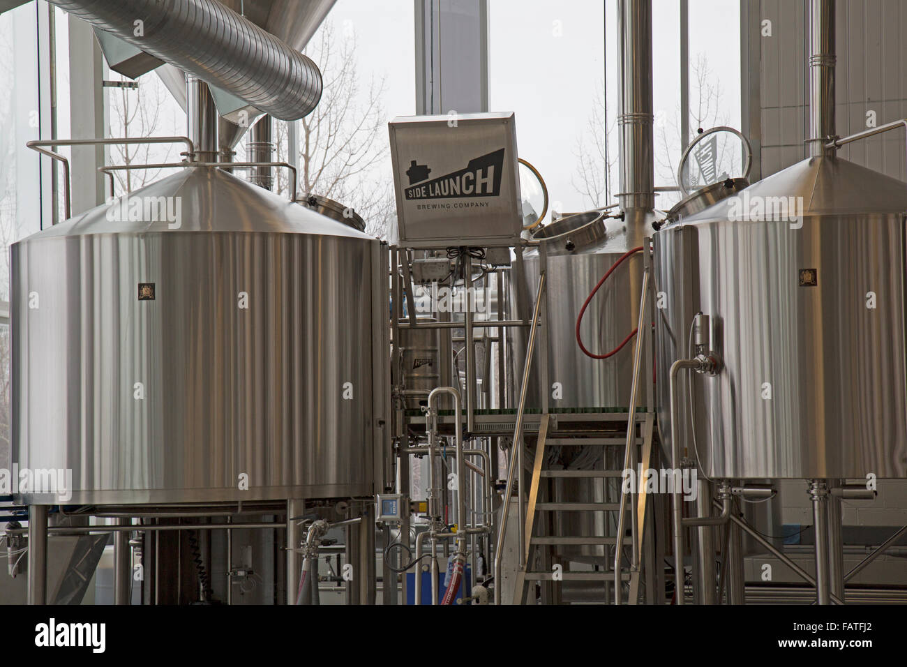 Inside the Side Launch Micro Brewery in Collingwood, Ontario, Canada Stock Photo