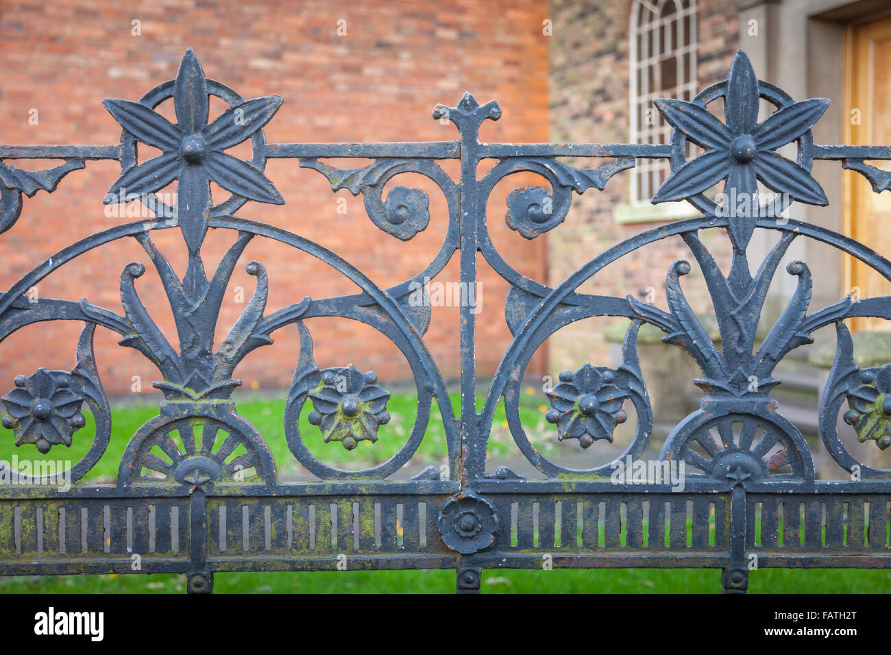 Cast iron railings outside a church in the midlands of Britain UK - Stock Image