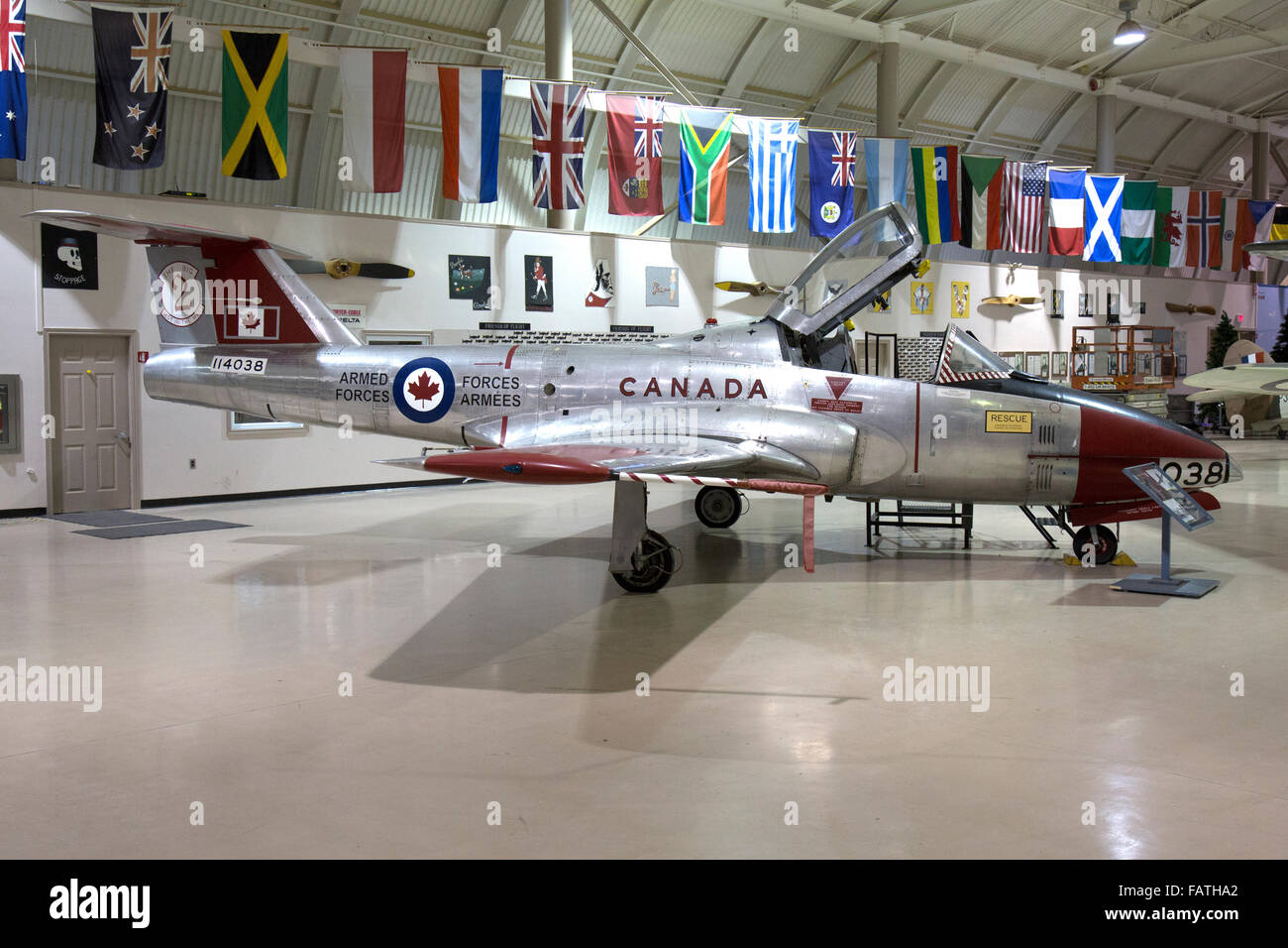 An exhibit inside the Canadian Warplane Heritage Museum in Hamilton, Ontario. A 1965 Canadair CL-41 Tutor of the Stock Photo